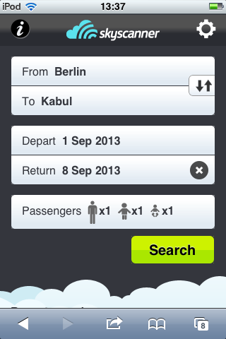 Skyscanner mobile website: screen design